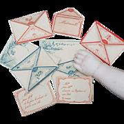 Rare Antique Original fashion doll correspondence, envelopes, letter-papers, etc. - 9 pieces, excellent condition! Paris, c.1880