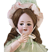 """22""""(56 cm.)  Antique  Bisque Bebe for the French Market with Superb Original Costume"""