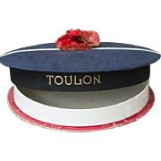 "Wonderful Antique French original  Candy Container sailor hat ""TOULON"", c.1900"