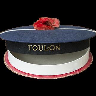 "Wonderful Antique French original  Candy Container sailor hat ""TOULON"", c.1900"