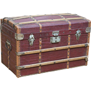 Antique French All Original Dome Top Wooden Trunk  with tray for doll, good condition to age, c.1890