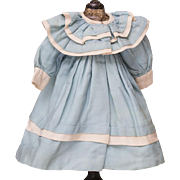 "Antique French Original Aqua Woolen Dress Coat for Jumeau Bru Steiner Gaultier Eden Bebe  or early German doll about 17-18"" tall"