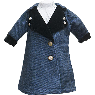 Antique French Original Blue Woolen Coat with brass buttons with anchor design,
