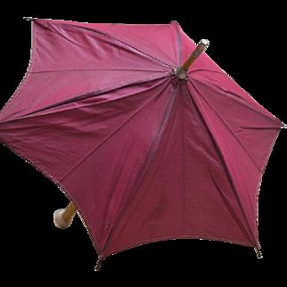 "15 1/2"" (39 cm) Antique Original Red Silk wooden handled parasol for Jumeau Bru Steiner Eden Bebe Gaultier , other French or early german doll"