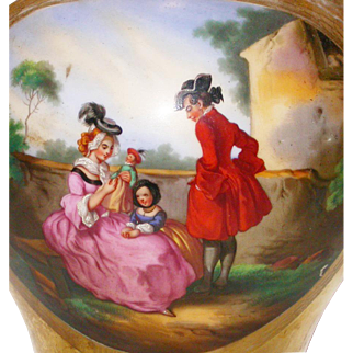 Wonderful Antique French Gold Painted Vase with a beautiful pictures with family and doll, c.1880.