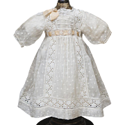 "Antique Original French Original Batiste Dotted Dress and matching slip for Jumeau Bru Steiner Gaultier Eden Bebe or Early German doll 21-22"" (53-56cm)"