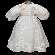 "Antique Original French Original Batiste Dotted Dress and matching slip for Jumeau Bru Steiner Gaultier Eden Bebe or Early German doll 21-22"" (53-56cm)"