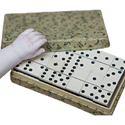 """Antique French All original Domino games for fashion dolls from store """"Au Nain Bleu"""", Lyon , c. 1900"""