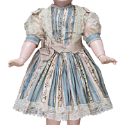 "Antique French Exquisite patterned silk dress for Jumeau Bru Steiner Eden Bebe Gaultier doll about 21-22"" (53-56 cm) tall"