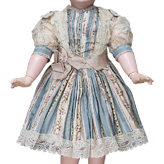 """Antique French Exquisite patterned silk dress for Jumeau Bru Steiner Eden Bebe Gaultier doll about 21-22"""" (53-56 cm) tall"""