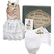 "Antique French Doll Undergarment Set with Corset Stay in original Box, for Jumeau bru Steiner, Eden bebe and other doll about 21-22"" ( 53-56 cm)."