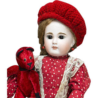 """15"""" (38 cm) Beautiful Antique German Sonneberg Closed Mouth Bisque Child Doll, 137, by Mystery Maker, for the French Market, c.1885"""
