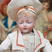 "11"" (28 cm) Antique All Original German Bisque Character doll,178,by Kestner in Mariner Costume, c. 1912"