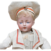 "11"" (28 cm) Antique All Original German Bisque Character doll,178,by Kestner in Mariner Costume, c. 1912"