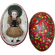 "3 1/2"" (9 cm) Antique All Original German  Closed Mouth Mignonette Tiny All Bisque Doll with her original box - egg, for French Market, Rare mark 191, c.1885"