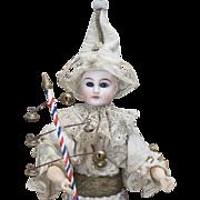 "17"" (43 cm) Wonderful Antique All original  German Musical Handwind Mechanical Toy the Clown Doll with jingles, c.1880"
