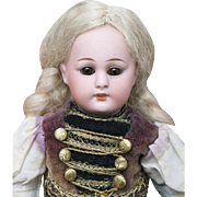 "8 1/2"" (22 cm.) Antique German All Original Small Bisque Child Doll with folklore Costume"