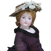 "24"" (61 cm) Rare Large Size Gorgeous Antique  French Bisque Poupee Doll by Gaultier with Gesland Body and Bisque Bare Feet, in excellent condition!"