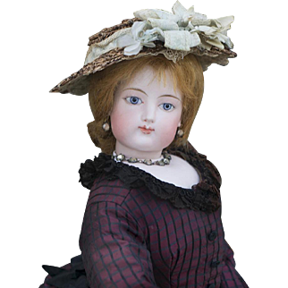 """24"""" (61 cm) Rare Large Size Gorgeous Antique  French Bisque Poupee Doll by Gaultier with Gesland Body and Bisque Bare Feet, in excellent condition!"""