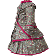 "Antique Two-piece printed Cotton Dress for Jumeau Bru Steiner Eden bebe Schmitt bebe doll about 18-19"" tall"