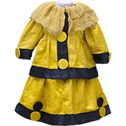 "Rare Antique Original Yellow&Black Silk Party Dress for Jumeau Bru Steiner Eden Bebe Gaultier and other doll about 26-27"" (65-68 cm) tall"