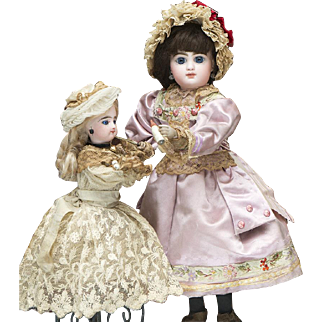 Rare Antique  French Musical Automaton by Louis Renou with Jumeau Mascotte and Gaultier dolls, very good working condition, c.1890