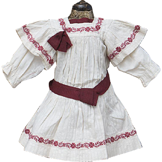 "Antique French Original White Cambric Pinafore Dress for 18-19"" Jumeau Bru Steiner Eden bebe  or German doll"