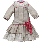"Antique  French Original Bengaline Silk Dress for Jumeau bru Steiner Eden Bebe Gaultier and other doll about 26-27"" tall, c.1880"