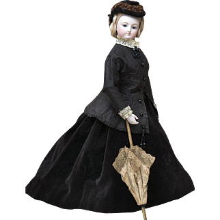 "18"" (46 cm) Antique French Fashion Poupee Smiling Bru Fashion doll with wooden&bisque hands, in antique costume"