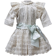 """Wonderful Antique Original French White Cotton Dress of Broderie Anglaise for Jumeau bru Steiner Eden Bebe E.J. or early german doll about 25-26"""" tall (63-66 cm)"""