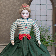 "13 1/2"" (34 cm) Early Antique French Bisque Poupee  Doll with Cobalt Blue Enamel Eyes by Barrois, original gown, c.1860"