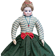 """13 1/2"""" (34 cm) Early Antique French Bisque Poupee  Doll with Cobalt Blue Enamel Eyes by Barrois, original gown, c.1860"""
