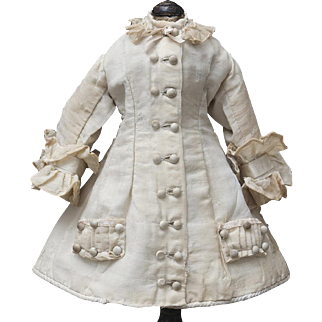 "Antique French Original Ecru Silk Dress for Jumeau bru Steiner Eden bebe E.J. and other french doll about 19"" tall"