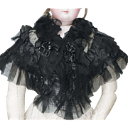 """Antique Original Lace & Silk Cape for Fashion doll Jumeau bru Huret Rohmer and other about 17-18"""" tall"""