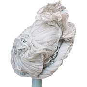 "Antique Original Wire Framed Aqua Gauze Silk Hat Bonnet for Jumeau Bru Steiner Eden Bebe or Early German doll about 19-20"" tall"