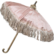 "12 1/4"" (31 cm)  Antique French Doll Pink Silk Parasol Umbrella with Fringe Fancy for Jumeau bru Steiner Eden bebe Gaultier or early German doll"