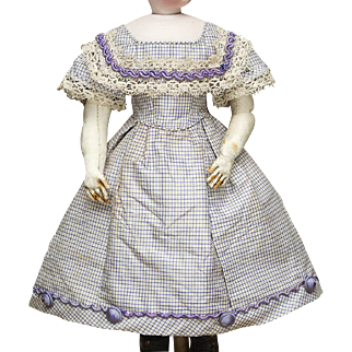 "1860's Antique Enfantine Checkered Silk French Fashion Poupee Dress for doll about 17-18"" tall"