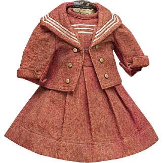 """Antique French Original  Factory 2 piece  Felt Sailor Costume for French Bebe doll about 17-18"""" (43-46 cm), c.1890"""