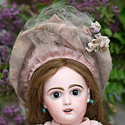 19in (49 cm) Antique French Jumeau Bebe Doll size 8 with rare Depose sleep eyes, antique original costume.