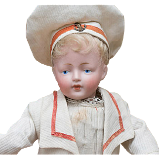 11in (28 cm) Antique German Bisque Character doll,178,by Kestner in Mariner Costume
