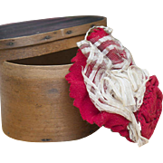 Antique All Original French Wooden Hatbox with small Bonnet for Huret Rohmer Jumeau Gaultier Bru Fashion doll,  Circa 1860