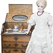 Rare Antique French Walnut Toilette Table with Porcelain Wash Set Perfectly sized for display with fashion  or bebe dolls