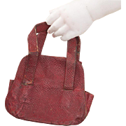 Antique Original  French Red Leather Purse Bag for fashion doll from Au Nain Bleu Shop, Paris, c.1890