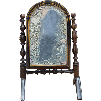 Antique French Exquisite Psyche, or Cheval French Wooden  Mirror for Fashion doll or small bebe