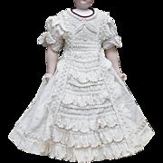 "Antique Original French Fashion  Pique Dress for Huret Rohmer Jumeau Bru Jumeau Gaultier Parisienne doll about  19-20"" tall"