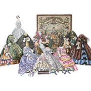 1860's Very Rare and Opulent All original Antique German Boxed Paper Doll Season of the Crinoliner Doll, French and U.S. Market