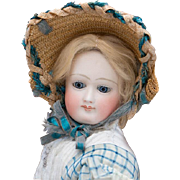 """17 1/2"""" (44 cm.) Very Rare French Fashion doll by Pierre Victor Clement  with stamped kid leather body and original costume"""