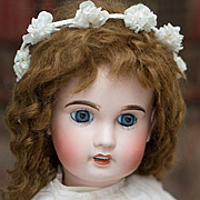 "22"" (56 cm) Antique French Limoges AL&Co Cherie bebe  doll size 9, in original dress"