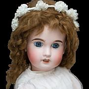 "22"" (56 cm) Antique French Limoges AL&Co Cherie bebe  doll size 9, in original dress"