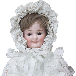 """13"""" (33 cm.) Antique All Original German Bisque Three-Faced Character Doll by Carl  Bergner, c.1890"""